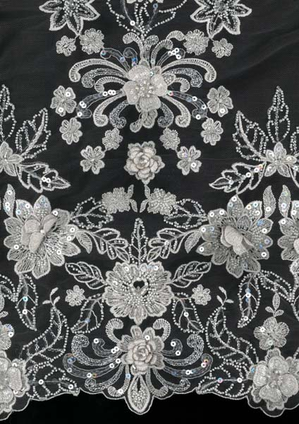 EMBROIDERED BEADED TULLE - DARK SILVER/SHELL
