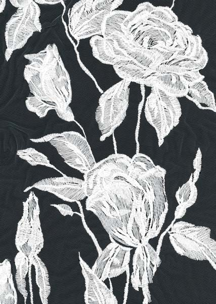 3D EMBROIDERED TULLE - IVORY