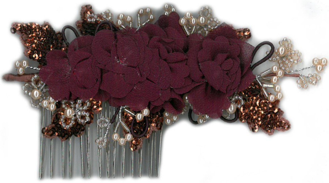HAIR COMB - RED/WINE/IV/NICKEL