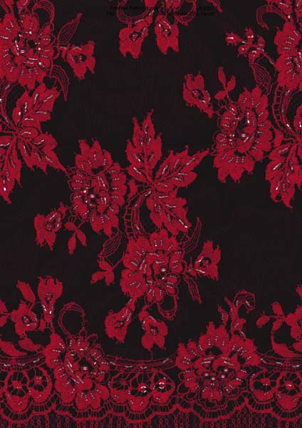 BEADED FRENCH LACE - PURPLE/RED