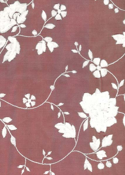 WOOL EMBROIDERED SILK ORGANZA - IVORY
