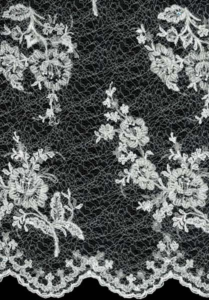 EMBROIDERED BEADED SPIDER TULLE - IVORY