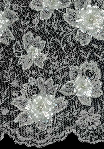 EMBROIDERED BEADED SEQUIN TULLE - CHAMP/IV