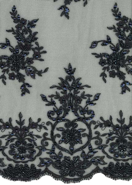 EMBROIDERED BEADED TULLE - DK NAVY