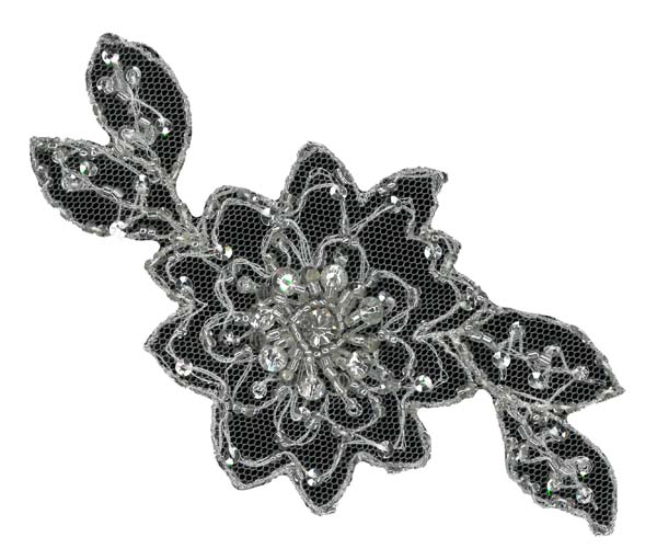 CRYSTAL BEADED MOTIF - IV/SIL