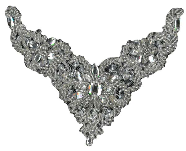 HEAVY CRYSTAL BEADED MOTIF (SOLD SINGULARLY) - SIL/IV