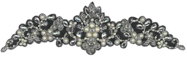 HEAVY CRYSTAL BEADED MOTIF (SOLD SINGULARLY) - IV/SIL