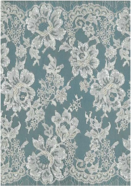 BEADED SEQUIN FRENCH CHANTILLY EDGING - IVORY