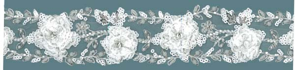 3D BEADED SEQUIN LACE EDGING - IV/SIL