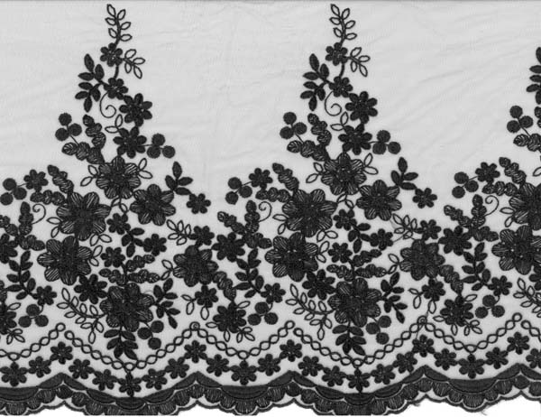 EMBROIDERED CORDED EDGING - BLACK