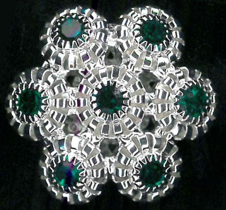 BUTTON - NICKEL/EMERALD
