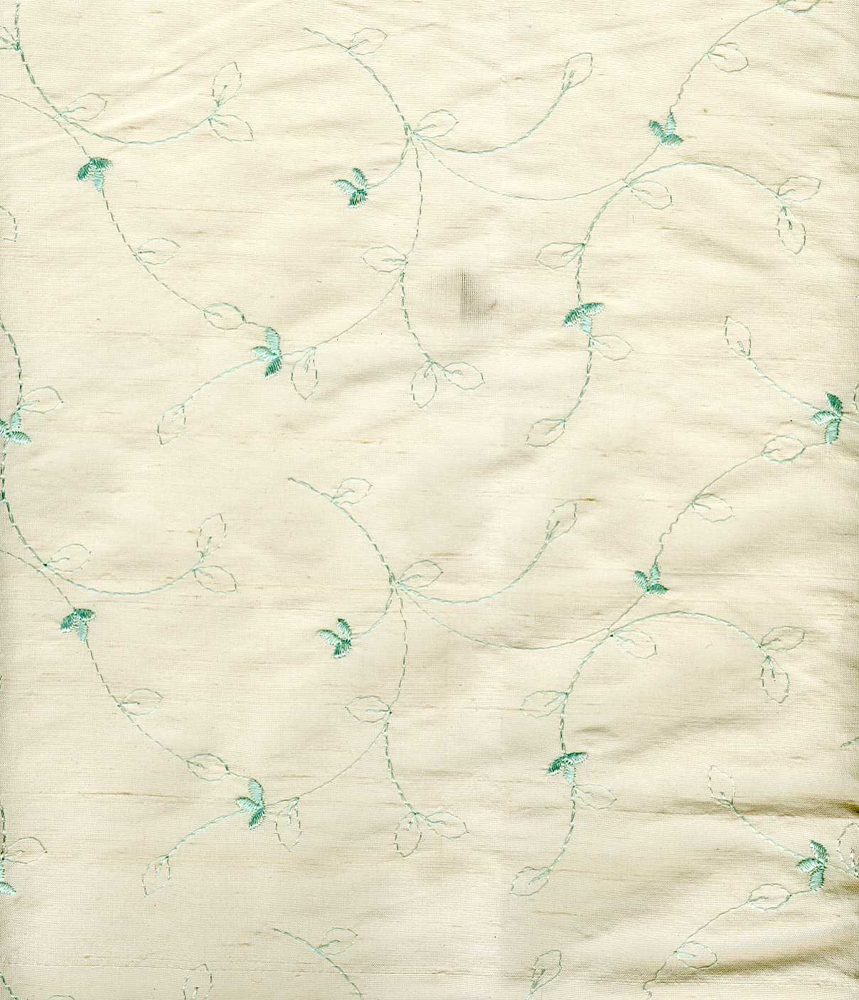 EMBROIDERED SILK DUPION - IV/MISTY GREEN