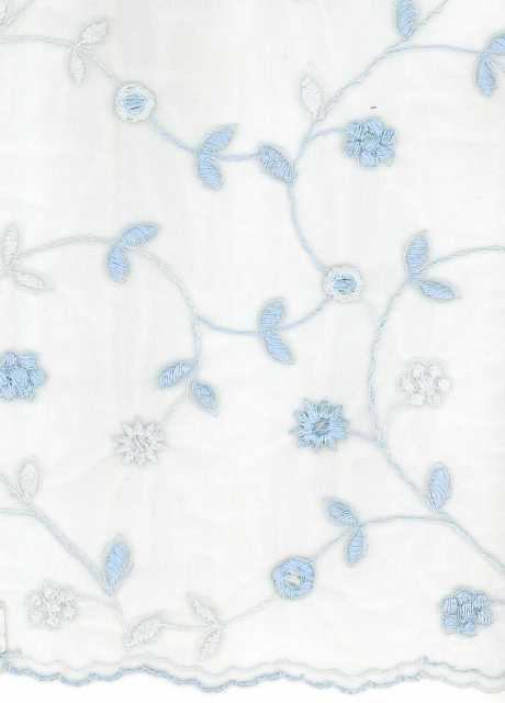 EMBROIDERED COTTON TULLE - ICE BLUE